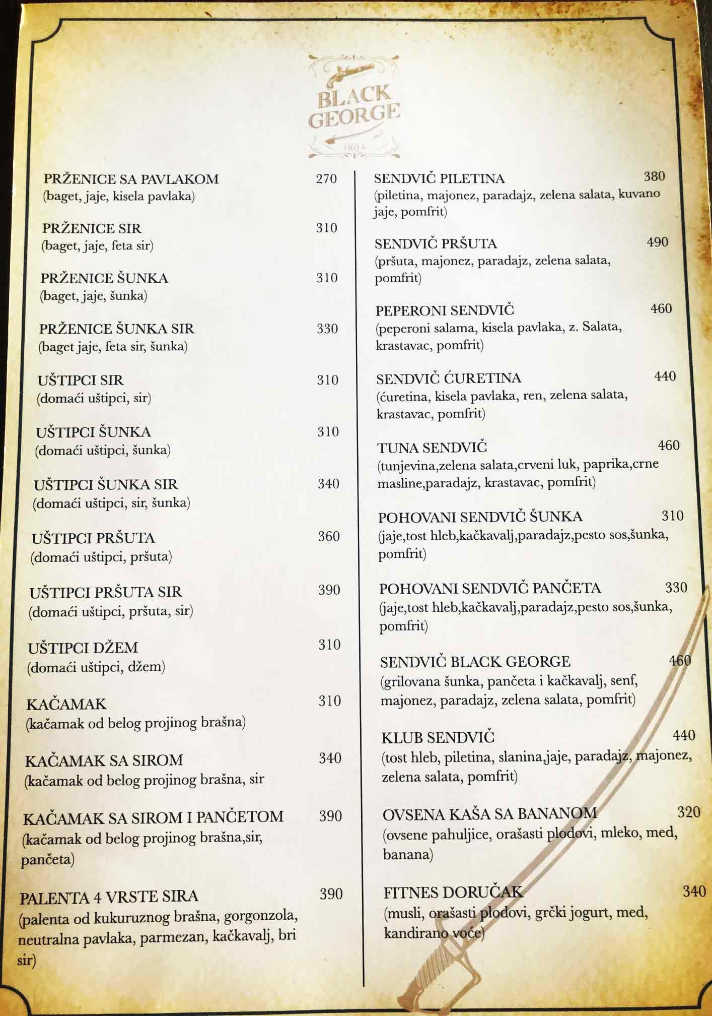 restoran black george cenovnik dorucak