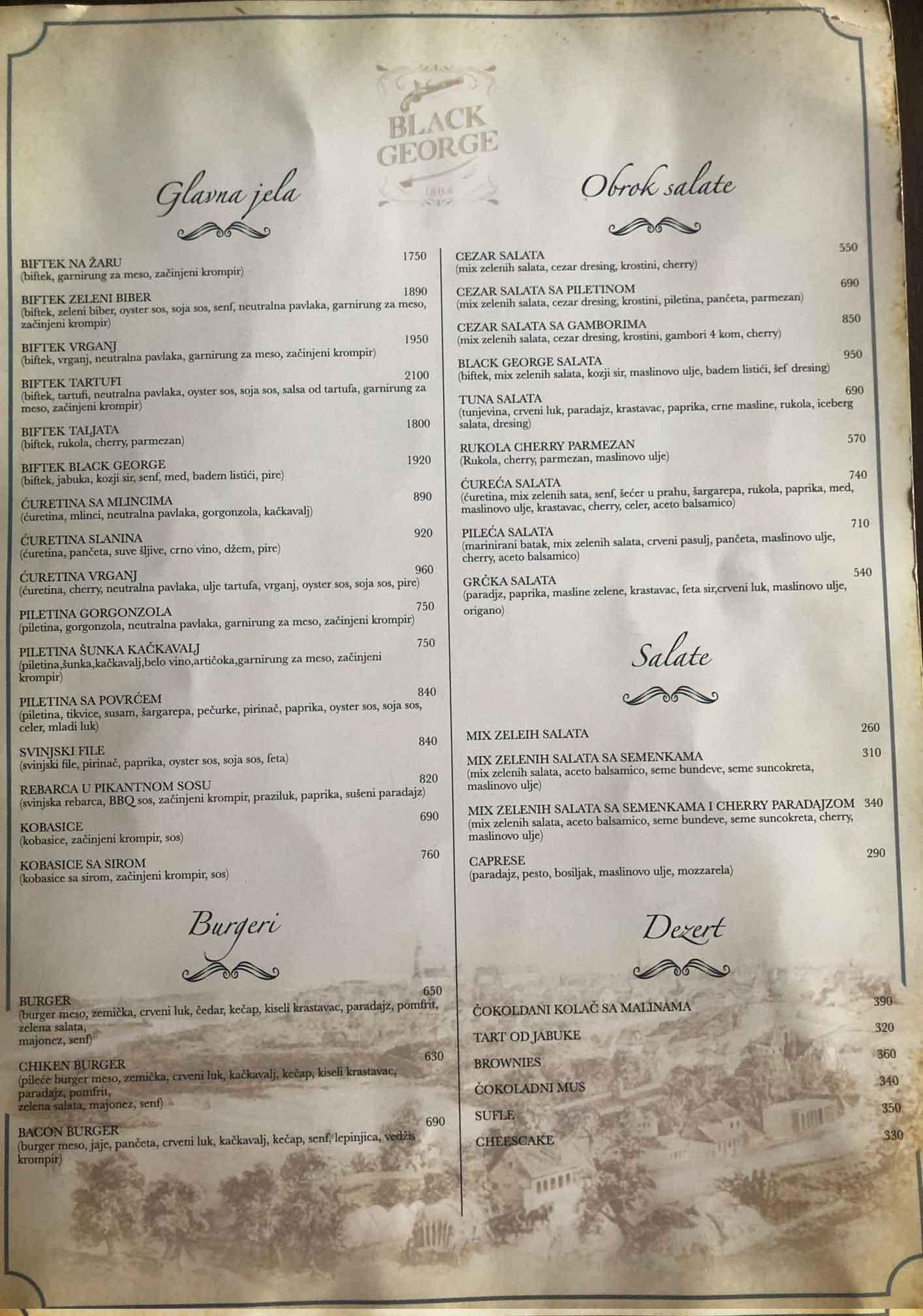restoran black george jelovnik