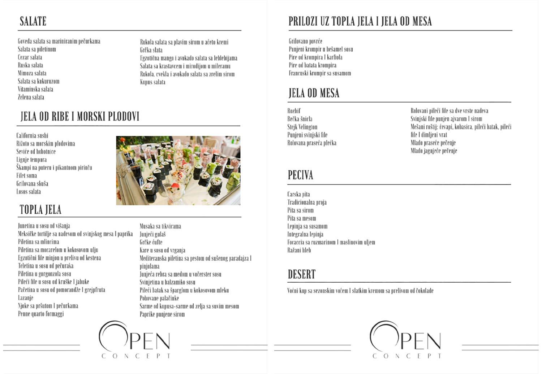 Djurdjevdan Open Concept Buffet Menu