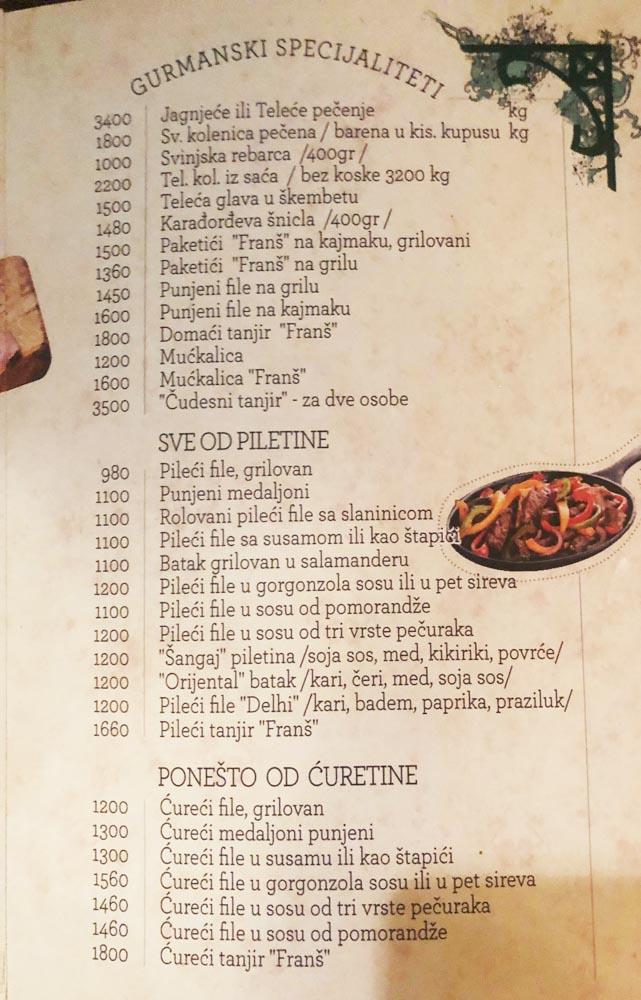 Restoran Frans Cenovnik