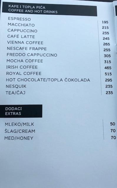 kafe panorama cenovnik