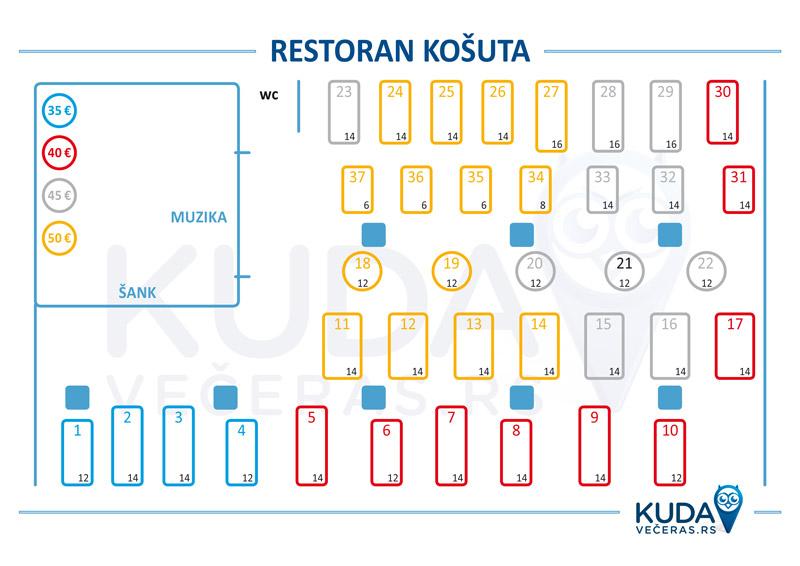 Restoran Kosuta Nova godina Mapa