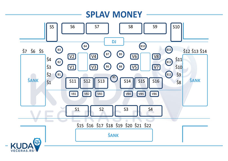 mapa splav the money