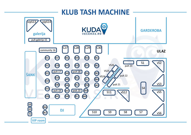KLUB TASH MACHINE mapa