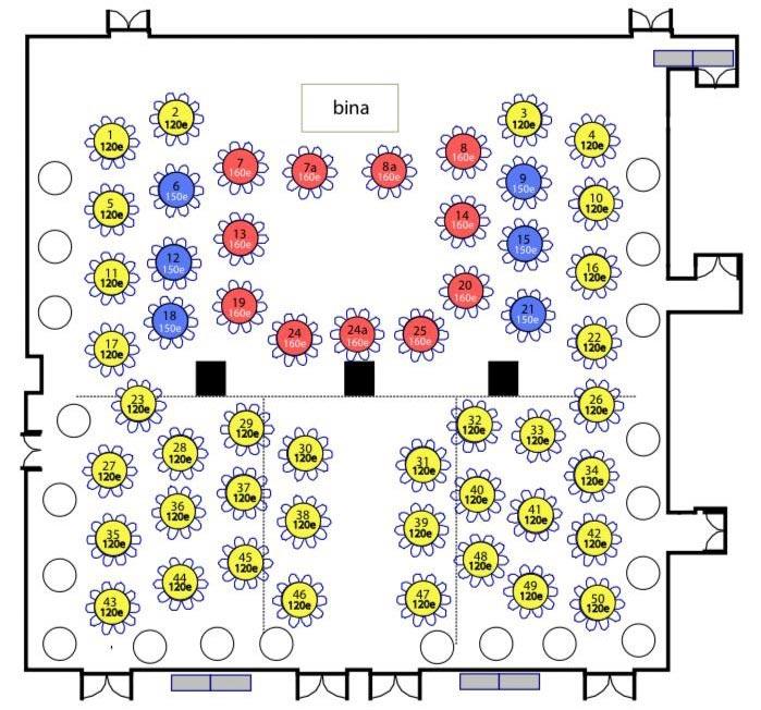Hotel Crowne Plaza Nova godina Mapa sedenja