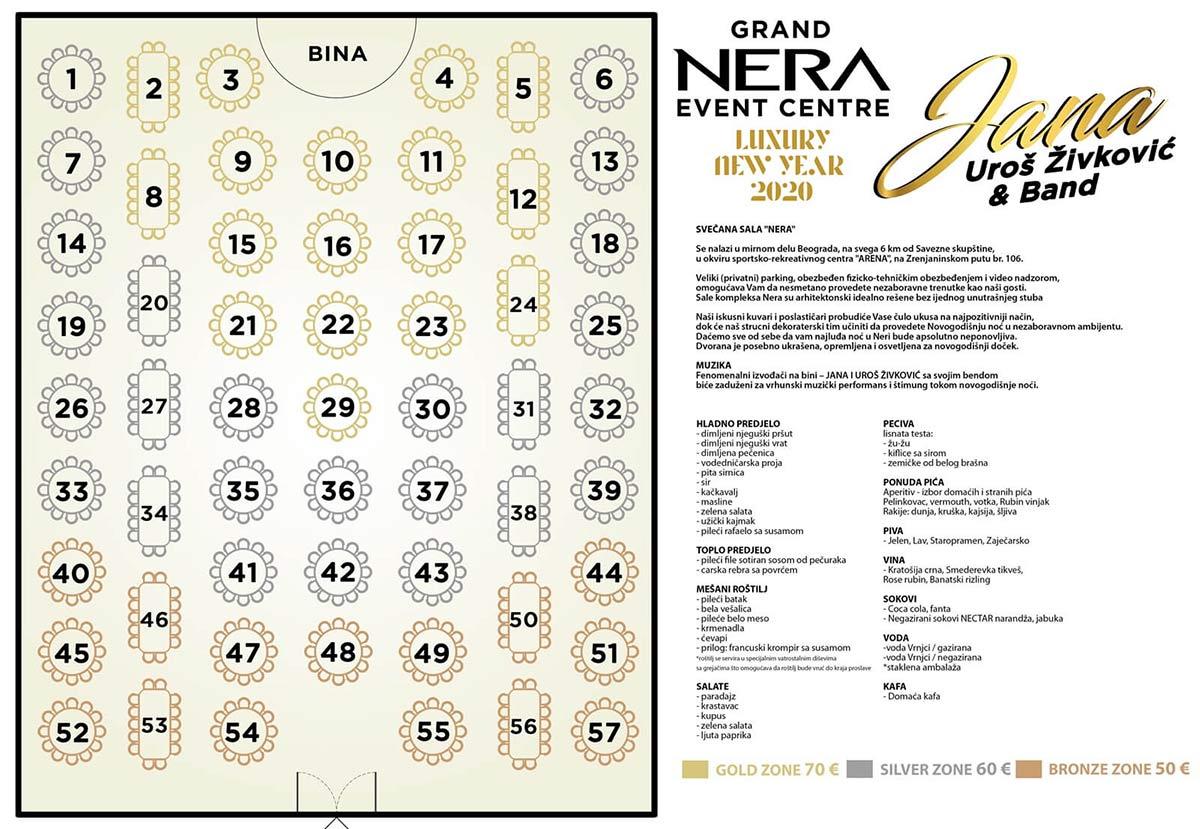 restoran nera nova godina mapa sedenja