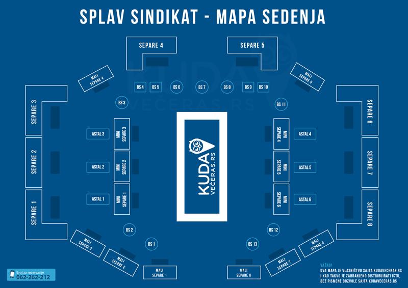 mapa prostora sedenja splav klub sindikat