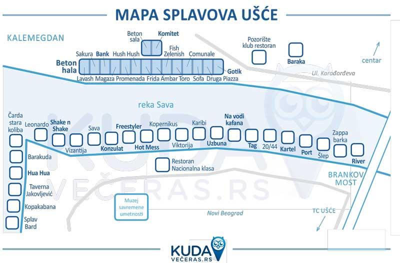 Mapa! Splavovi na Savi - Ušće, Novi Beograd